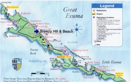 Map of Breezy Hill on Exuma, Bahamas